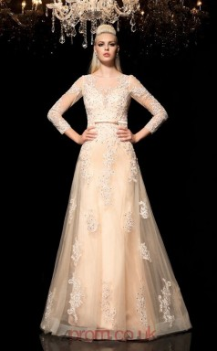 Pearl Pink Tulle , Lace Trumpet/Mermaid Long Sleeve Illusion Floor-length Evening Dress(JT2483)