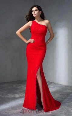 Red Lace Trumpet/Mermaid One Shoulder Sweep Train Evening Dress(JT2484)