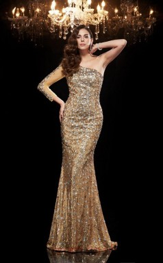 Gold Sequined Trumpet/Mermaid Long Sleeve One Shoulder Floor-length Evening Dress(JT2485)