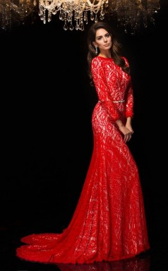 Red Lace Trumpet/Mermaid Long Sleeve Scalloped Sweep Train Evening Dress(JT2486)