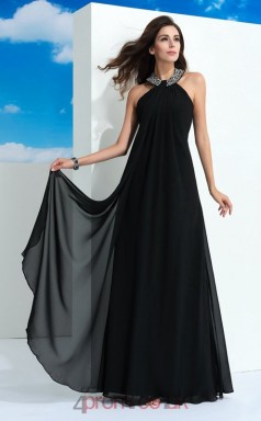 Black Chiffon A-line Halter Floor-length Formal Prom Dress(JT2490)