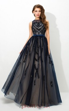 Navy Blue Tulle , Organza A-line Bateau Floor-length Evening Dress(JT2494)
