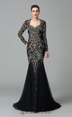 Black Lace , Tulle Trumpet/Mermaid Long Sleeve Scalloped Floor-length Evening Dress(JT2496)