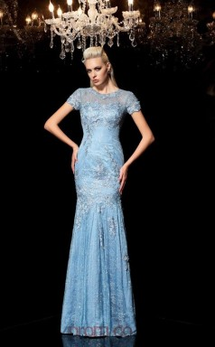 Sky Blue Lace Illusion Short Sleeve Floor-length Trumpet Evening Dress(JT2502)