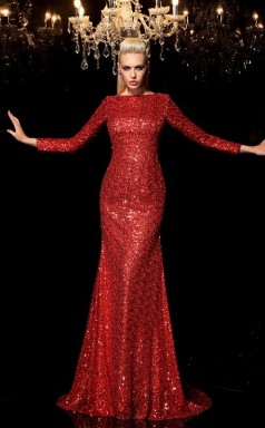Burgundy Sequined Bateau Long Sleeve Sweep Train Mermaid Wedding Formal Dress(JT2504)