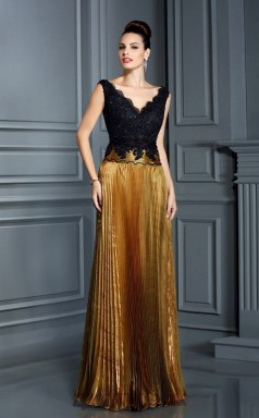 Gold Lace Organza V-neck Short Sleeve Floor-length Mermaid Evening Dress(JT2510)