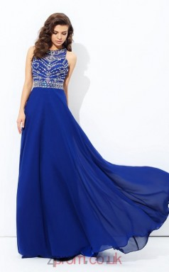 Light Royal Blue Chiffon Jewel Floor-length A-line Prom Dress(JT2519)