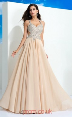 Light Champange Chiffon Halter Floor-length A-line Evening Dress(JT2524)