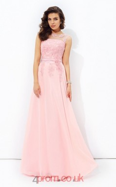 Candy Pink Chiffon Illusion Floor-length A-line Wedding Formal Dress(JT2525)