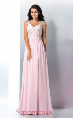 Blushing Pink Chiffon V-neck Floor-length A-line Evening Dress(JT2526)