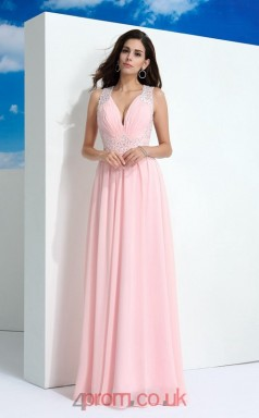 Candy Pink Chiffon V-neck Floor-length A-line Wedding Formal Dress(JT2529)