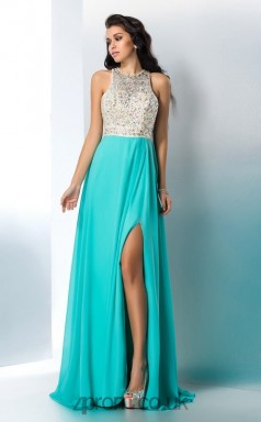 Side Split Turquoise Lace Illusion Floor-length ColumnProm Dress(JT2538)