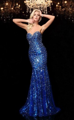 Blue Sequined Sweetheart Floor-length Trumpet Prom Dress(JT2545)