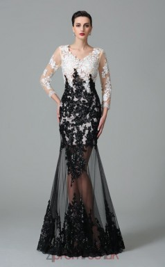 Black Lace V-neck 3/4 Length Sleeve Floor-length Trumpet Evening Dress(JT2551)