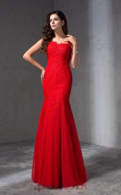 Red Lace Tulle Illusion Floor-length Trumpet Prom Dress(JT2552)