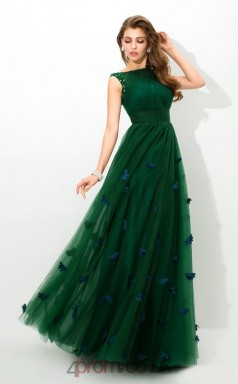 Dark Green Tulle Bateau Floor-length A-line Wedding Formal Dress(JT2553)
