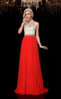Orange Red Chiffon Illusion Sweep Train A-line Prom Dress(JT2554)