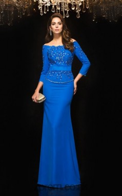 Light Royal Blue Chiffon Off The Shoulder 3/4 Length Sleeve Floor-length Mermaid Evening Dress(JT2556)