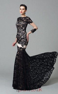 Black Lace Bateau Long Sleeve Floor-length Mermaid Evening Dress(JT2561)
