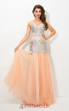 Pearl Pink Tulle Sweetheart Short Sleeve Floor-length Trumpet Prom Dress(JT2569)