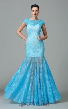 Light Blue Lace Bateau Floor-length Trumpet Evening Dress(JT2570)