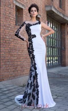 White Lace Satin Chiffon Bateau Long Sleeve Sweep Train Mermaid Evening Dress(JT2573)