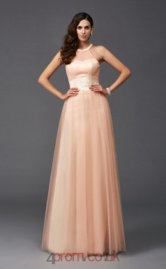 Pearl Pink Tulle Halter Floor-length A-line Prom Dress(JT2579)