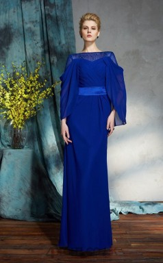 Royal Blue Chiffon Bateau Long Sleeve Floor-length Mermaid Evening Dress(JT2581)