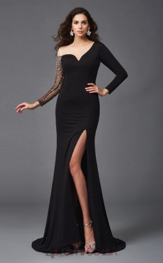 Side Split Black Spandex Bateau Long Sleeve Sweep Train Mermaid Evening Dress(JT2582)