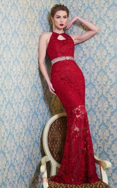Burgundy Lace Bateau Floor-length Mermaid Evening Dress(JT2590)