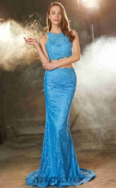 Ocean Blue Lace Jewel Sweep Train Mermaid Two Piece Prom Dress(JT2591)