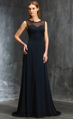 Black Chiffon Illusion Sweep Train ColumnWedding Formal Dress(JT2595)