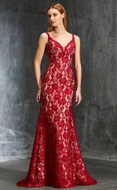 Burgundy Lace V-neck Floor-length Mermaid Evening Dress(JT2597)