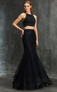 Black Tulle Halter Floor-length Trumpet Two Piece Prom Dress(JT2599)