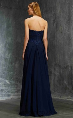 A-line Chiffon Navy Blue Strapless Floor-length Formal Prom Dress(JT2603)