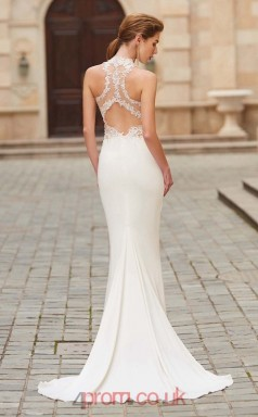 Trumpet/Mermaid Chiffon Ivory Halter Long Evening Dress(JT2613)