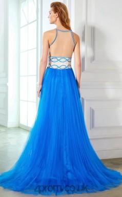 A-line Tulle Ocean Blue Bateau Floor-length Evening Dress(JT2616)