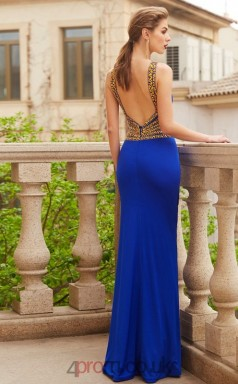 Trumpet/Mermaid Spandex Light Royal Blue Halter Floor-length Evening Dress(JT2618)