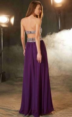 A-line Chiffon Purple Sweetheart Floor-length Formal Prom Dress with Split Side(JT2620)
