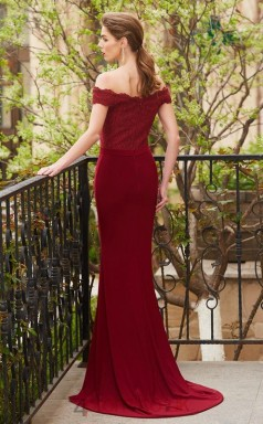 Trumpet/Mermaid Satin Chiffon Lace Burgundy Off The Shoulder Short Sleeve Floor-length Formal Prom Dress(JT2622)