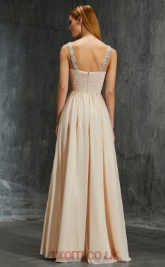 A-line Chiffon Champagne Straps Floor-length Prom Dress(JT2623)