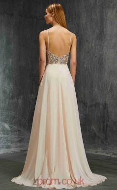 A-line Chiffon Champagne Halter Floor-length Evening Dress(JT2625)