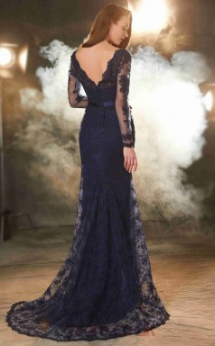 Trumpet/Mermaid Lace Navy Blue V-neck Long Sleeve Long Evening Dress(JT2626)