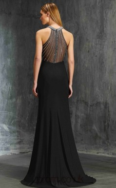 Trumpet/Mermaid Satin Chiffon Black Halter Floor-length Formal Prom Dress(JT2628)