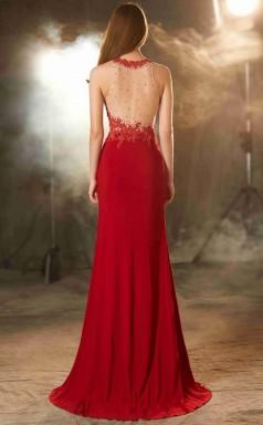 Trumpet/Mermaid Satin Chiffon Light Burgundy Bateau Floor-length Evening Dress with Split Side(JT2630)