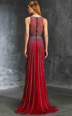 Trumpet/Mermaid Tulle Lace Light Burgundy Jewel Floor-length Evening Dress(JT2632)
