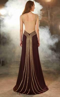 Trumpet/Mermaid Organza Dark Burgundy V-neck Long Evening Dress(JT2633)