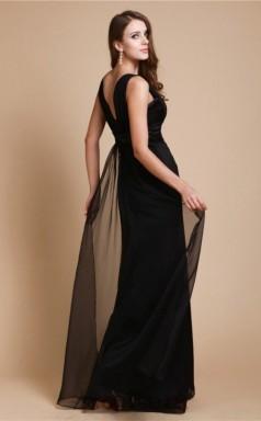 A-line Chiffon Black Straps Floor-length Formal Prom Dress(JT2659)