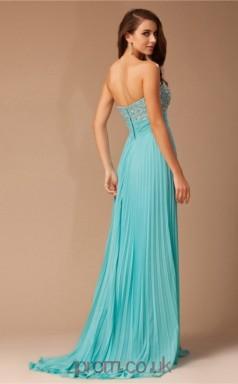 A-line Chiffon Deep Sky Blue Sweetheart Floor-length Prom Dress(JT2660)