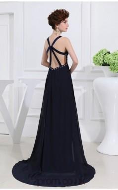 A-line Chiffon Dark Navy Straps Long Formal Prom Dress(JT2663)